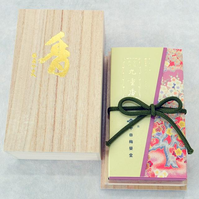 九重香 短寸10束入化粧箱 手提袋付 (梅栄堂)