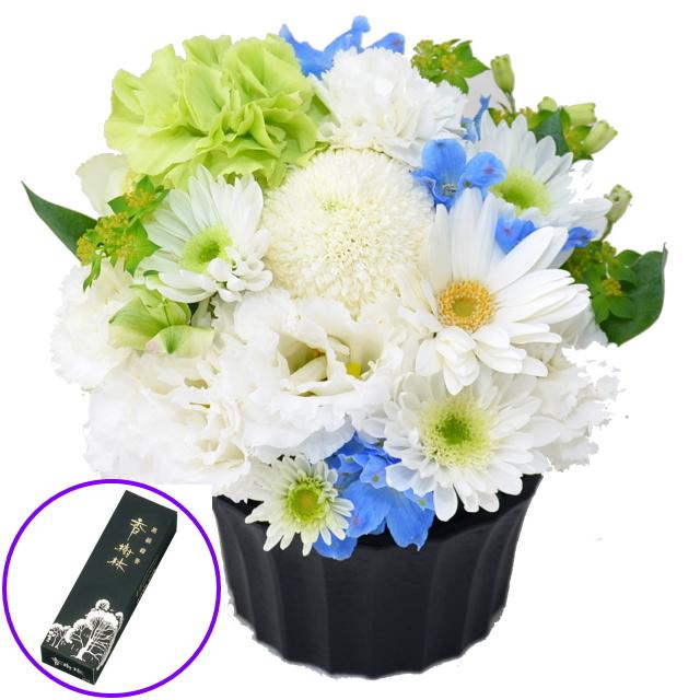お供えアレンジメント 玉初堂のお線香 香樹林 バラ詰10匁セット